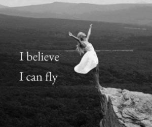 believe, black and white, and fly image