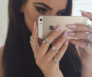nails, girl, and iphone image