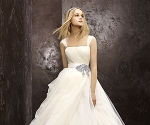 ball gown, blonde, and decolletage image