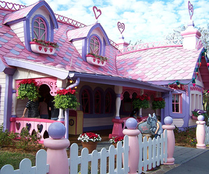 house, pink, and disney image