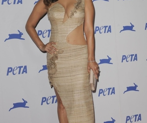 one shoulder gown, gown, and Sunny Leone image