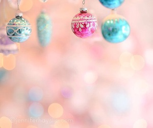 christmas, pink, and ornaments image