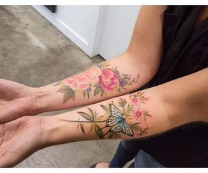 arm, butterfly, and colours image