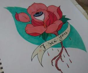 art, rose, and tattoo image