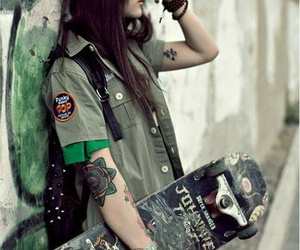 girl, skate, and tattoo image