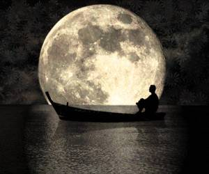 moon, night, and boat image