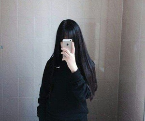 girl, asian, and black image