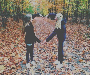 blonde, fall, and friendship image