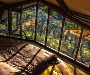 bedroom, nature, and bed image