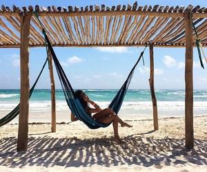 beach, girl, and paradise image