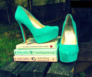 shoes, heels, and book image