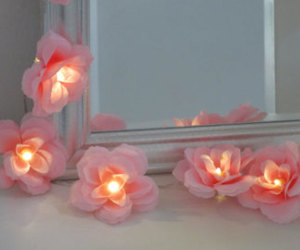 bedroom decoration, lights, and pink roses image