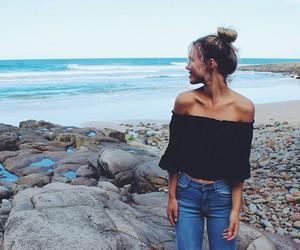 girl, fashion, and beach image