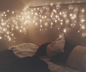bedroom, lights, and night image