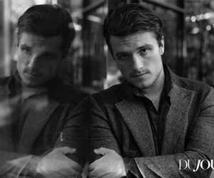 josh hutcherson and black and white image