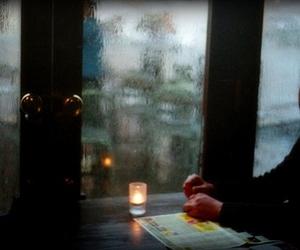 girl, rain, and candle image