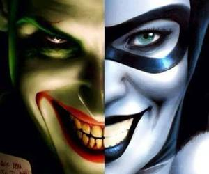 couple, harley quinn, and joker image
