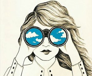 girl, sky, and drawing image