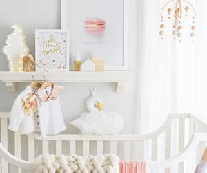 baby room, white, and baby bed image
