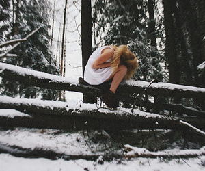 alone, girl, and snow image