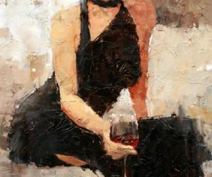 black, dress, and painting image