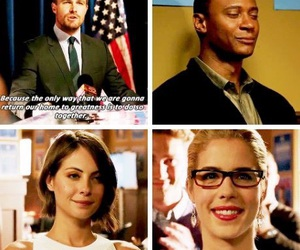 arrow, willa holland, and oliver queen image