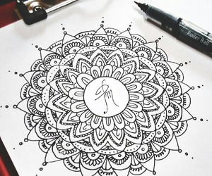 art, b&w, and mandala image