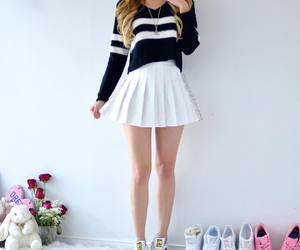 outfit, skirt, and adidas image