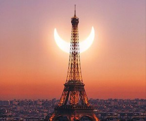 paris, moon, and eclipse image