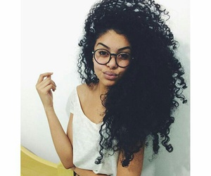 blackhair, glasses, and big curly hair image
