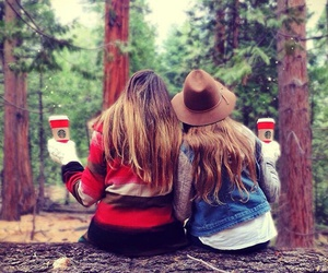 girl, starbucks, and friends image