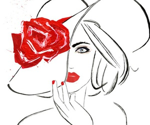 red, rose, and drawing image