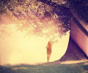 girl, tree, and sun image