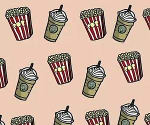 wallpaper, popcorn, and starbucks image