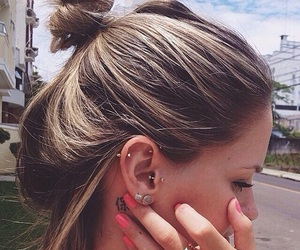 hair, piercing, and blonde image