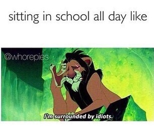 school, funny, and lion king image