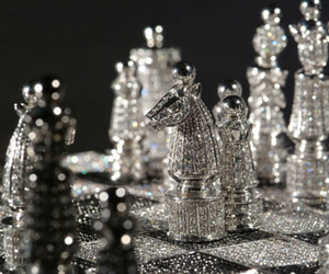 black and white, crystal, and chess image