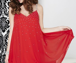 red dress, trapeze dress, and holiday dresses image