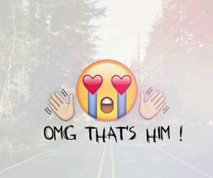 love, emoji, and him image