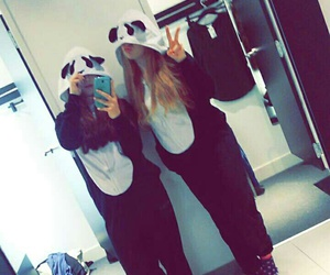 overall, panda, and shopping image