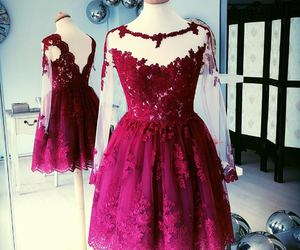 burgundy, lace, and dress image