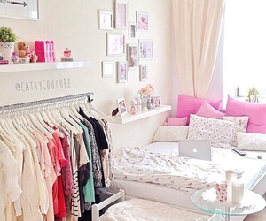 room, pink, and bedroom image