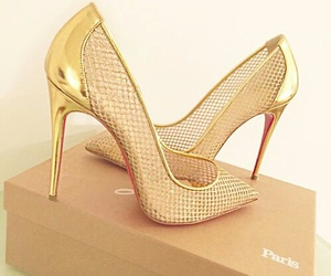 shoes, fashion, and gold image