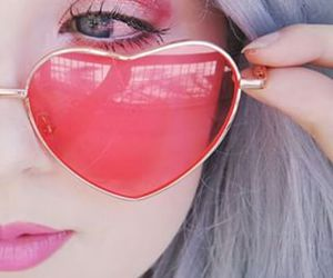 heart, sunglasses, and pink image