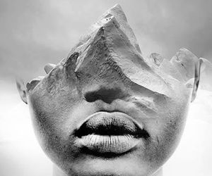art, black and white, and face image