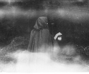 black and white, cloaked, and woman image