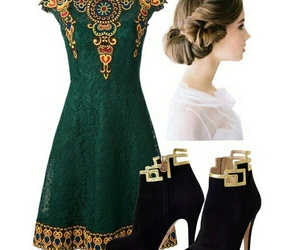 dress, gold, and green image