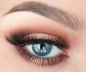 makeup, blue, and eyebrows image