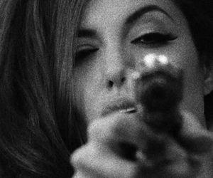 gun, Angelina Jolie, and black and white image