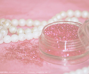 pink, glitter, and pearls image